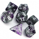 Purple & Steel Gemini Polyhedral 7 Dice Set